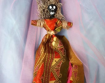 Voodoo Doll Authentic Handmade New Orleans Style Poppet, Vodou, Original, Wealth Good Fortune, Art Doll