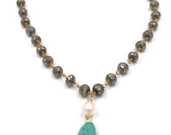 Short pyrite necklace with a fresh water pearl and turquoise drop center piece / Gold lobster claw clasp / extender chain