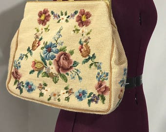 1950's | Needlepoint Purse | vintage | beige and floral