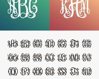 Interlocking Vine Monogram Font SVG, Vine monogram svg, interlocking vine font, SVG Fonts, Alphabet Svg files for Silhouette, Cricut