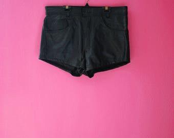90s Grunge Black Leather Plus Size Shorts