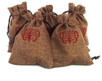 Gift pouch Jute hessian drawstring pouch Favor gift bags Hessian pouch Drawstring bag Burlap favour bags Jute gift bags Butterfly