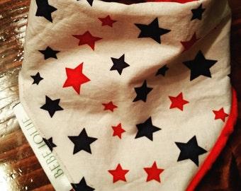 Bandana bib reversible minky stars