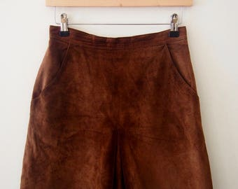 Vintage Tan Suede Skirt, High Waisted, Size XS