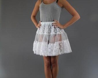 White Lace Petticoat edged in Delicate Lace Trim
