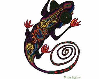 Lazy Cameleon With Fiery Legs. Cameleon, Iguana, Gecko, Lizzard, Psychedelic Iguana, Cameleon Drawing, Cameleon Art, Iguana Art, Gecko Art