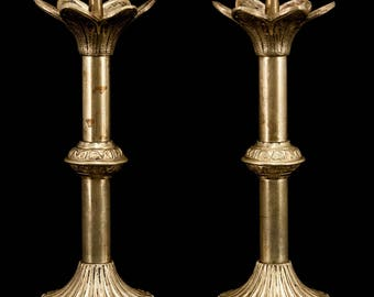 Charming Pair of Antique Gilded Bronze Candlesticks Candle Holders 2