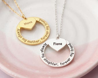 Always My Mother, Forever My Friend Necklace - Mother Daughter Necklace - Gift For Daughter from Mother - Mom Necklace