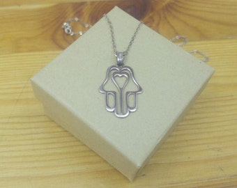 Hamsa Heart Necklace Heart Hamsa Necklace Hamsa Necklace With Heart