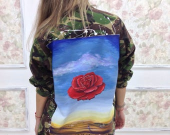 "Salvador Dali ""Meditative Rose"" surrealism hand painted military jacjet. Ready to ship."