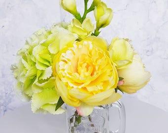 Yellow Peonies Green Hydrangra and Freesia Bouquet Artificial Silk Loose Flowers Home Decor Rustic Wedding Birthday Bridesmaid Housewarming
