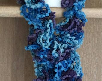 Pom-pom Scarf / Ruffle Yarn with Pom-Poms / Crocheted Scarf with Pom-Poms / Blue & Purple Pom-Pom Scarf