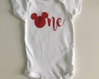 Mickey mouse birthday onesie / Mickey mouse birthday outfit / Mickey onesie / Mickey mouse onesie / Baby onesie / Mickey mouse Baby Onesie