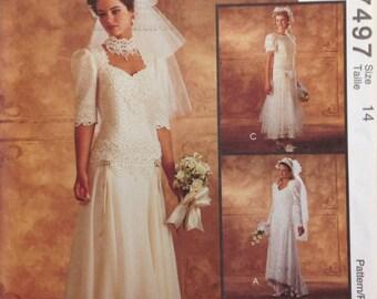McCalls 7497 Alicyn Tea Length Wedding Dress Vintage Sewing Pattern Misses Size 14