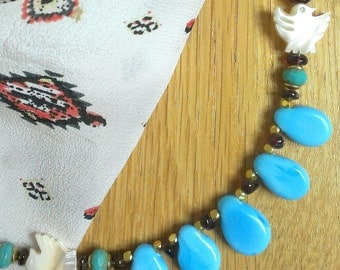 Turquoise, glass paste, Garnet and Pearl Necklace