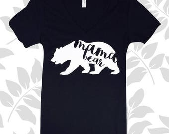 Mama Bear....Momma Bear V Neck T-Shirt, Mothers Day Gift, Mothers Day V Neck, New Mom, Baby Shower Gift, V-Neck T-Shirt