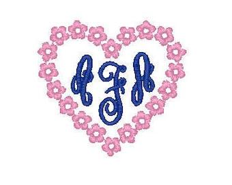heart flowers monogram frame border instant download pes 2.5 x 2.2 embroidery design font design
