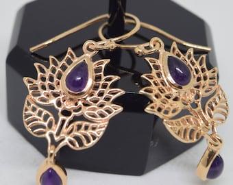 Boho Lotus Flower Dangle Earrings