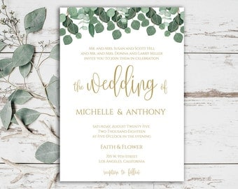 Kraft Wedding Invitation Printable Wedding Template Wedding