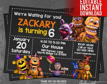 5 Nights at Freddy's Invitation with Five Nights at Freddy's Thank You Tag FREE! Editable Instant Download PDF Files