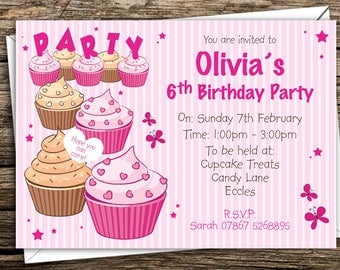 Personalised Girls Birthday Party Invitations Cupcakes, Invites, Pink
