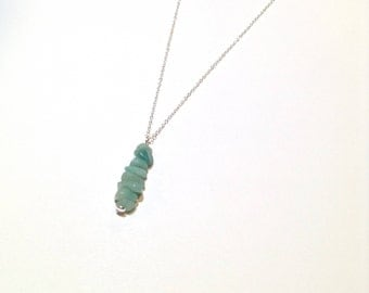 Sterling silver turquoise amazonite gemstone chip drop layering necklace