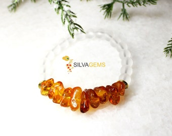 Rare Natural Raw Untreated Two Colour Lemon Honey Amber and Matte Clear Crystal Rock Gemstone Beaded Stretch Bracelet. Amber Jewellery.