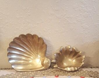 Vintage brass shell catch all set, trinket trays.  Vintage brass shells. Coastal decor