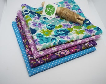 Floral Purple and Turquoise poly cotton fabric, fat quarters, 25cm x 25cm