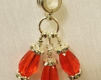 Red Crystal Dangle Necklace and Matching Earrings