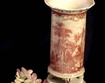 Red Transferware Vase