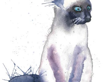 Cat Watercolour Painting Giclee Print A4