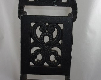 Match Holder Black Cast Iron Striker Vintage Wall Mount Rustic Farmhouse Decor