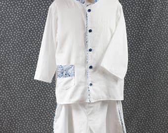 Mandarin collar white cotton flannel pajamas liberty