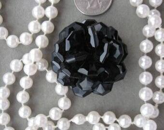 Art Deco Vintage  Onyx Black Floral Bead Brooch