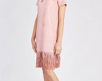 Pink Fringed dress. Embroidered and Fringed Faux Suede Dress