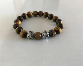 Bracelet Homme, Oeil de tigre, Initiales Argent 925