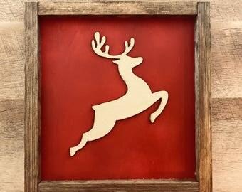 Gold Glitter Reindeer Sign