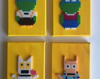 Set of 4 Rocko's Modern Life Perlers on painted canvas