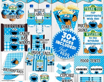Cookie Monster Party, Cookie Monster Birthday Decorations, Cookie Monster 1st Birthday, Sesame Street Party Kit Package | Charm Bits Design