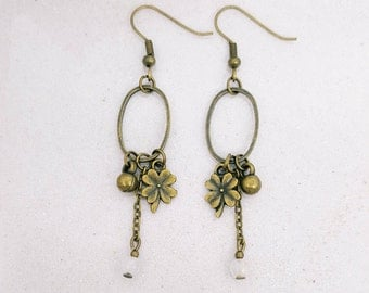 Clover earrings - rose Quartz