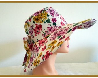 Woman hat in floral fabric