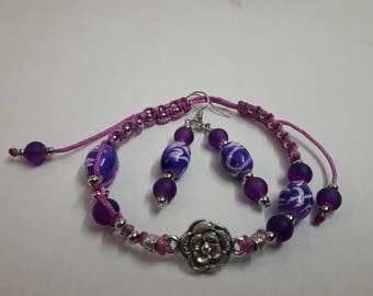 Purple romantic – jewelry set of bracelet with small metal rose and earrings with painted beads