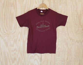 Vintage 1980's Henry Ford Museum Greenfield Village Maroon 50/50 T-Shirt  T Shirt Screen Stars S / M