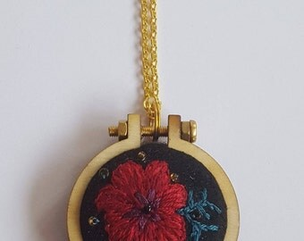 embroidered pendant- red flower
