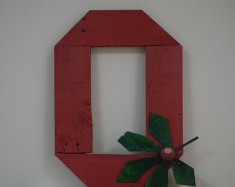 """Ohio State Sign - Buckeyes Sign - OSU Sign - Block """"O"""" - Handmade - Hand-painted - Rustic Pallet Wood Sign - Man Cave Sign - Bar Sign"""