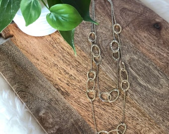 circle link necklace   multi strand