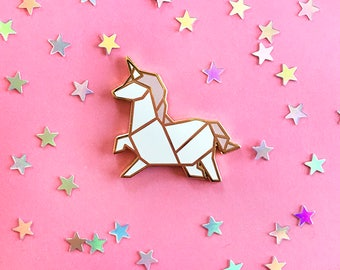 Origami Unicorn Paper Enamel Trading Pin | Magical Critter Lapel Pin, Cute White and Pink Hard Enamel Pin