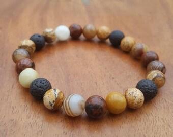 Essential oil diffuser bracelet / On the beach diffuser bracelet / Aromatherapy lavastone diffuser bracelet