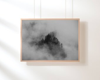 Black and White Fog Forest, Forest Print, Forest Art, Minimalist Landscape, Trees, Top Selling, Nature Photography, Nature Prints, Wall Art